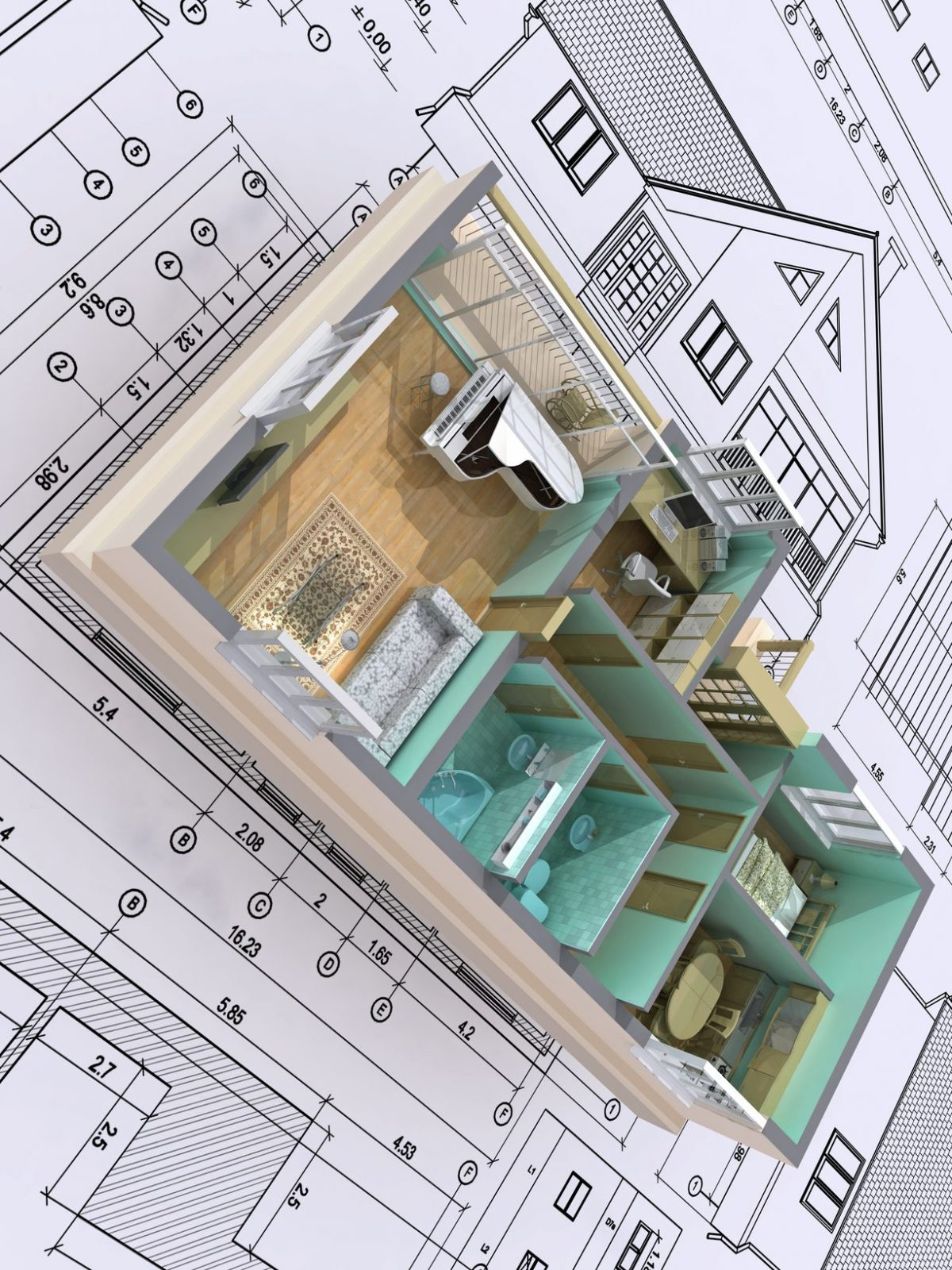 3D isometric view the cut residential house on architect